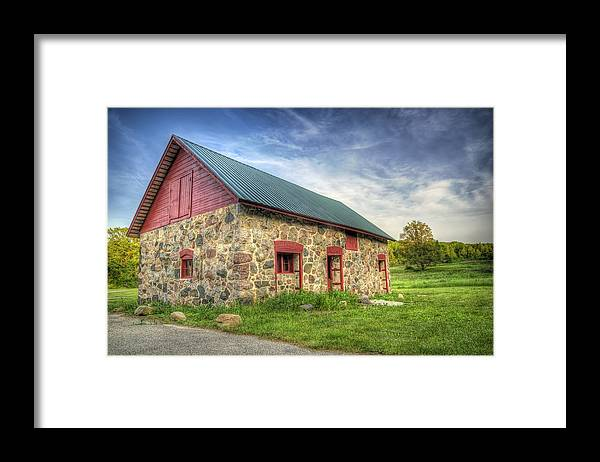 Barn Framed Print featuring the photograph Old Barn At Dusk by Scott Norris