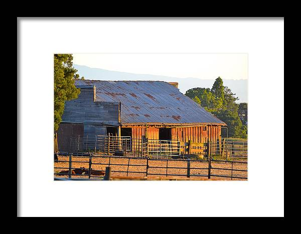 Old Barn Framed Print featuring the photograph Old Barn At Sunset by Carol Sheli Cantrell