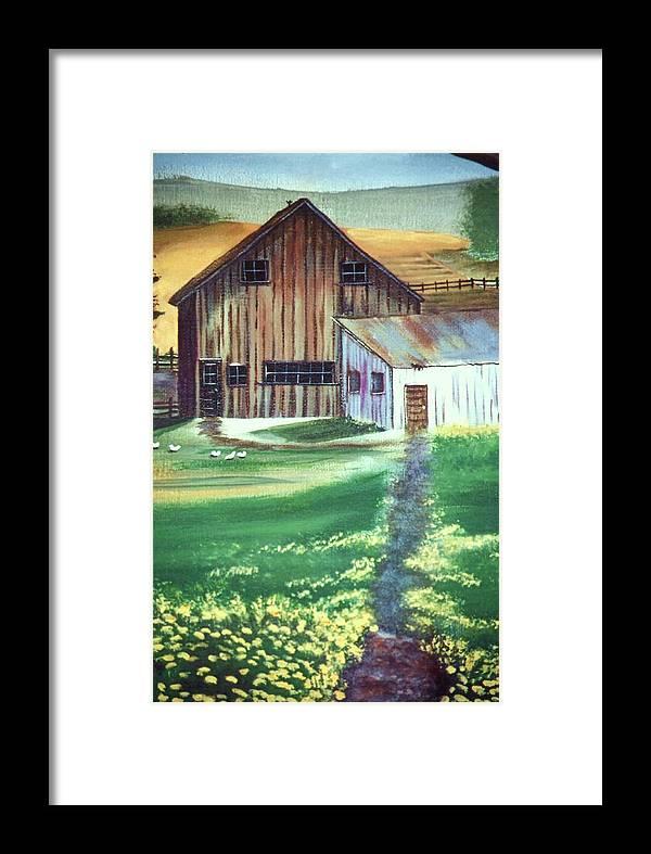 Barn Farm Landscape Scenery Barnyard Fields Framed Print featuring the painting Old Barn by Eileen Blair
