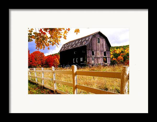 Rural Framed Print featuring the photograph Old Barn In Autumn by Roger Soule