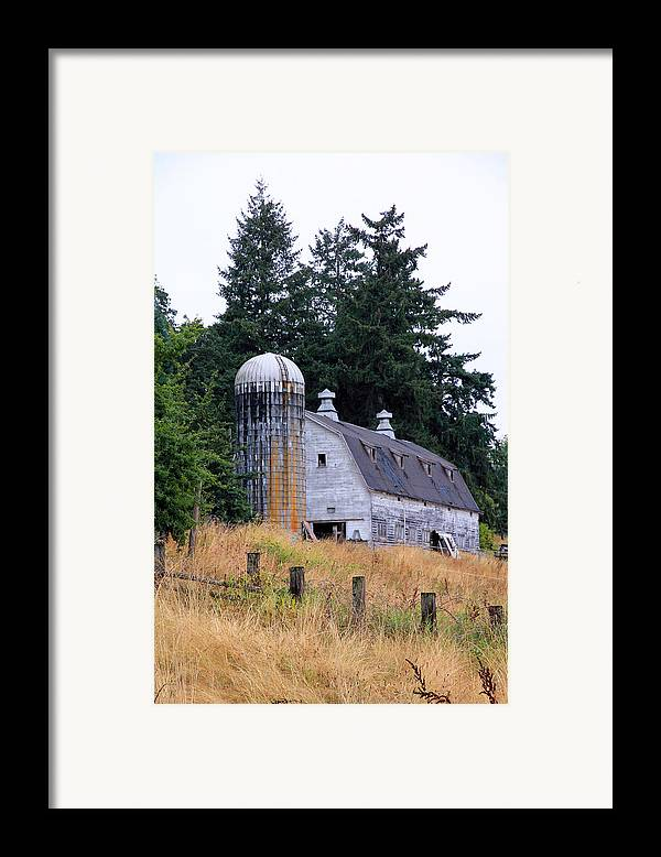 Barn Framed Print featuring the photograph Old Barn In Field by Athena Mckinzie