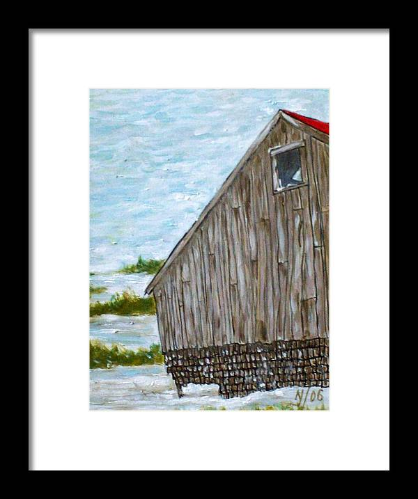 Barn Framed Print featuring the painting Old Barn In Winter by Norman F Jackson