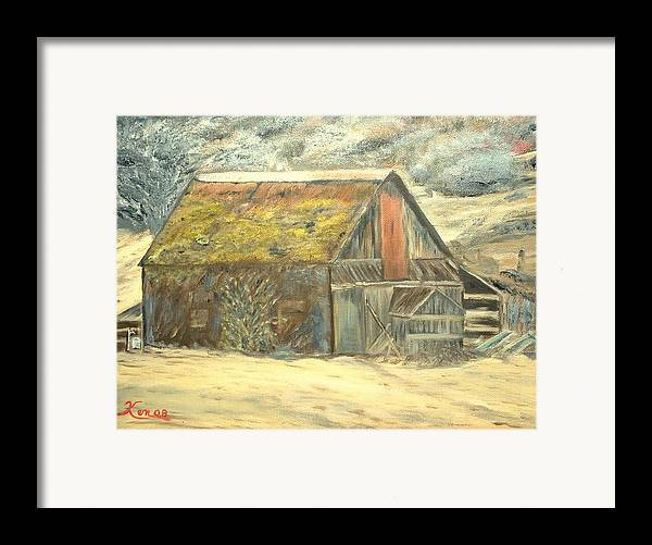 Barn Landscape Old Framed Print featuring the painting Old Barn Mossey Roof by Kenneth LePoidevin