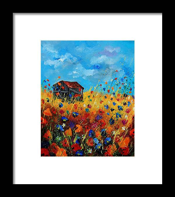 Poppies Framed Print featuring the painting Old Barn by Pol Ledent