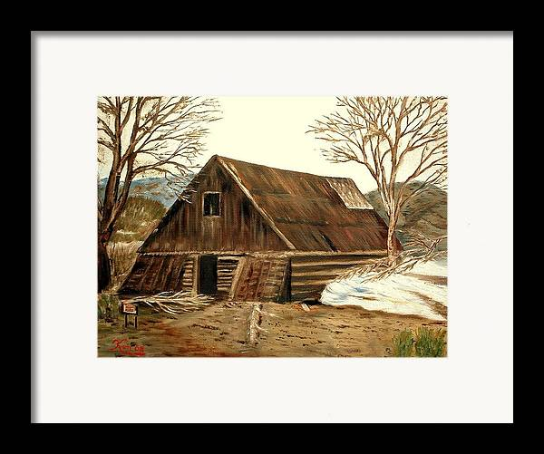 Barn Landscape Snow Framed Print featuring the painting Old Barn Series 1 by Kenneth LePoidevin