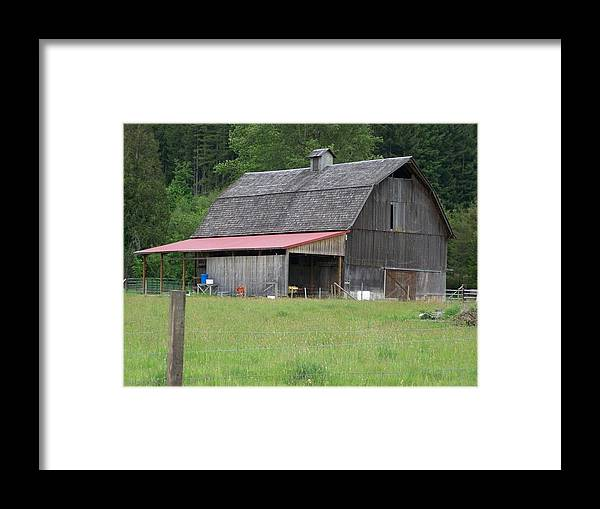Barn Framed Print featuring the photograph Old Barn With Red Leanto Washington State by Laurie Kidd