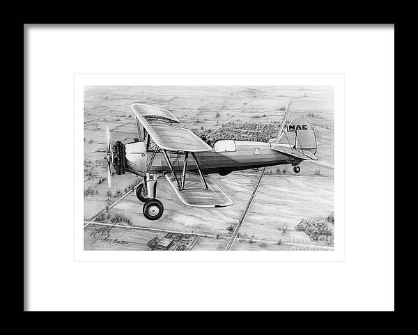 Pencil Framed Print featuring the drawing Old Bi Plane by Murphy Elliott