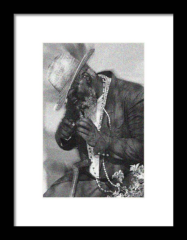 Old Black Man Framed Print featuring the digital art Old Black Man by Marcus Wang