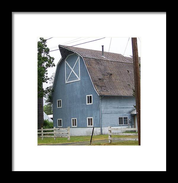 Old Framed Print featuring the photograph Old Blue Barn Littlerock Washington by Laurie Kidd