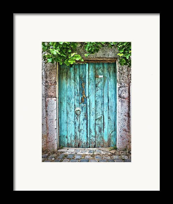 Door Framed Print featuring the photograph Old Blue Door by Delphimages Photo Creations