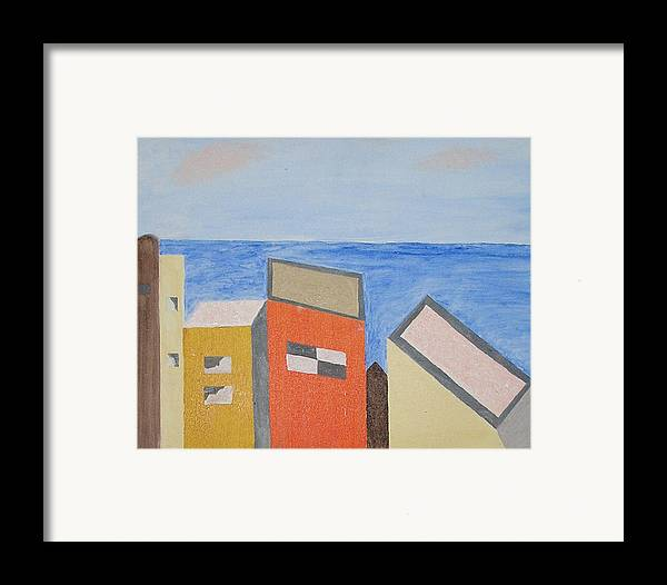 Seaside Framed Print featuring the mixed media Old Buildings At The Seashore by Harris Gulko