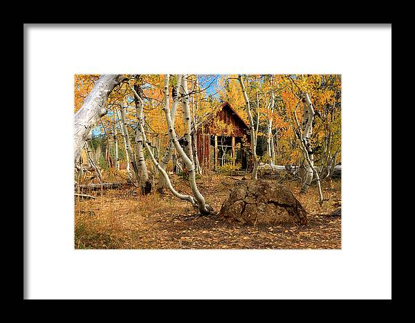 Cabin Framed Print featuring the photograph Old Cabin In The Aspens by James Eddy