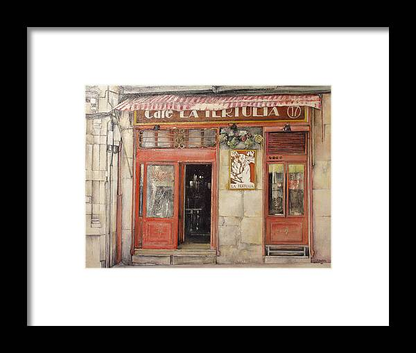 Cafe Framed Print featuring the painting Old Cafe- Santander Spain by Tomas Castano