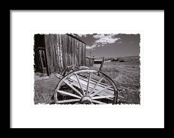 Black And White Framed Print featuring the photograph Old Cart And Building Bodie California by George Oze