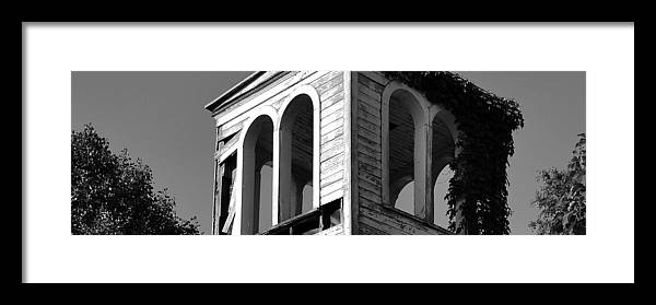 Black And White Framed Print featuring the photograph Old Church Tower by Brian Fisher