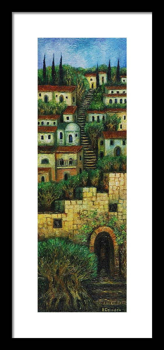 Image Framed Print featuring the painting Old City No 2. by Evgenia Davidov