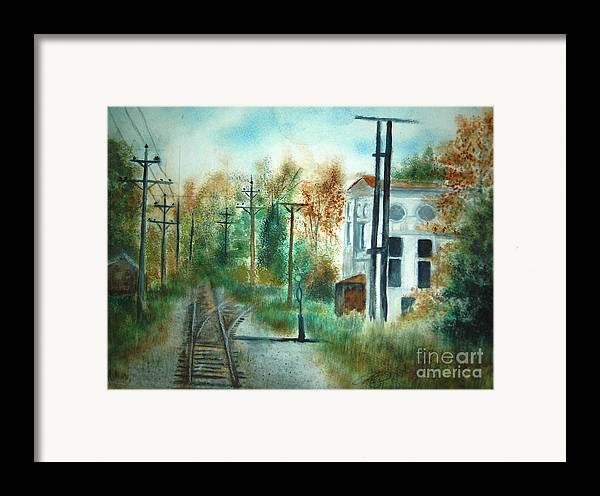 Landscape Framed Print featuring the painting Old Cn Station Fort Langley Bc by Vivian Mosley