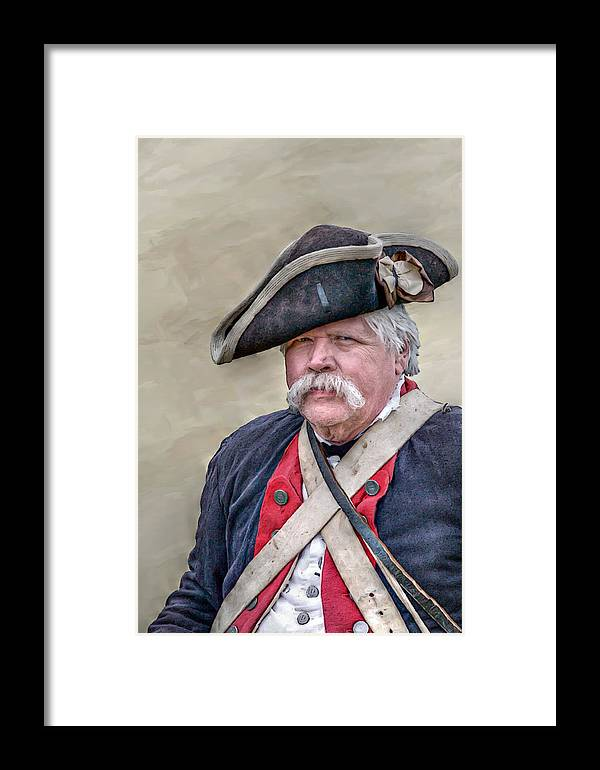 War Framed Print featuring the digital art Old Colonial Soldier Portrait by Randy Steele