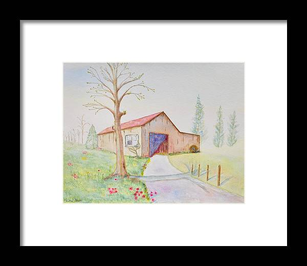 Landscape Framed Print featuring the painting Old Country Barn by Jonathan Galente
