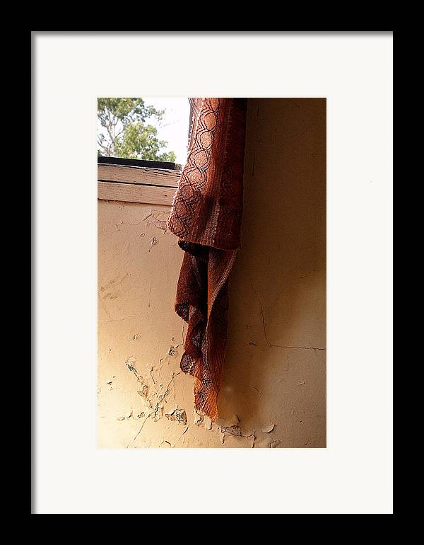 Curtain Framed Print featuring the photograph Old Curtain by Linda McRae