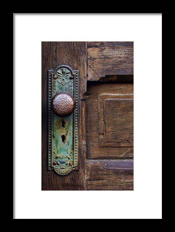 Antique Door Framed Print featuring the photograph Old Door Knob by Joanne Coyle
