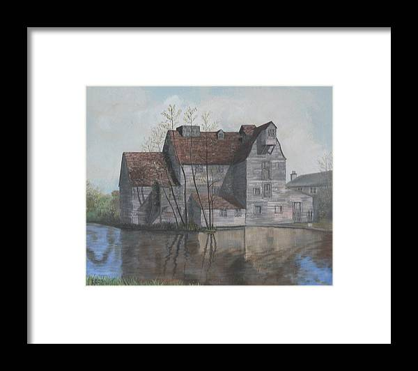 Grain Mill Framed Print featuring the painting Old English Mill by Dan Bozich