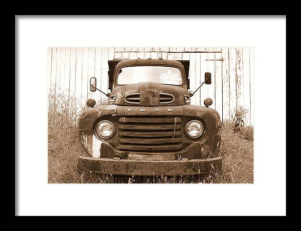 Ford Framed Print featuring the photograph Old F1 Sepia Ford by Dennis Morgan