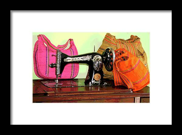 Sewing Machine Framed Print featuring the photograph Old Fashion Machine by Alisha Robertson