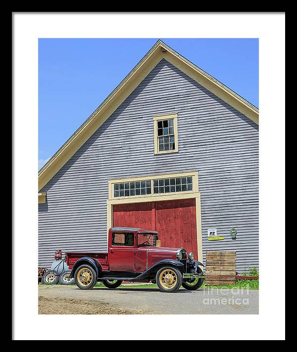 Old Ford Model A Pickup in front barn by Edward Fielding