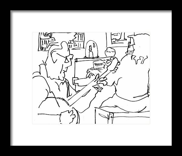 Ink Framed Print featuring the drawing Old Friends And Fine Music by Todd Peterson