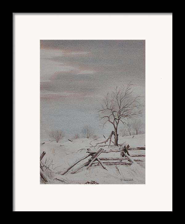 Rail Fence Framed Print featuring the painting Old Friends by Debbie Homewood