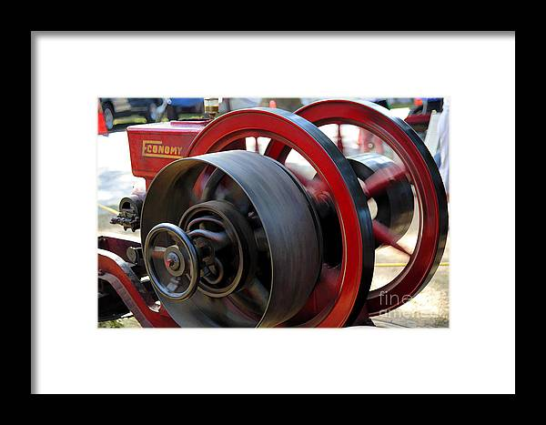 County Fair Framed Print featuring the digital art Old Gas Engine With Digital Effects by William Kuta
