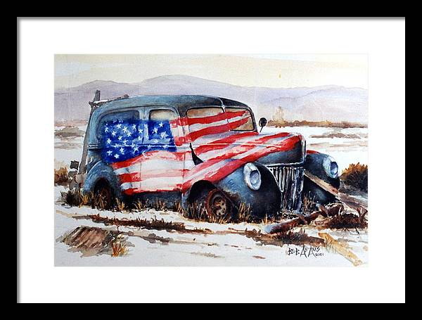 Old Truck Framed Print featuring the painting Old Glory by Bob Adams