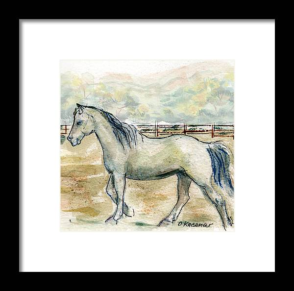 Horse Framed Print featuring the painting Old Gray Mare by Olga Kaczmar