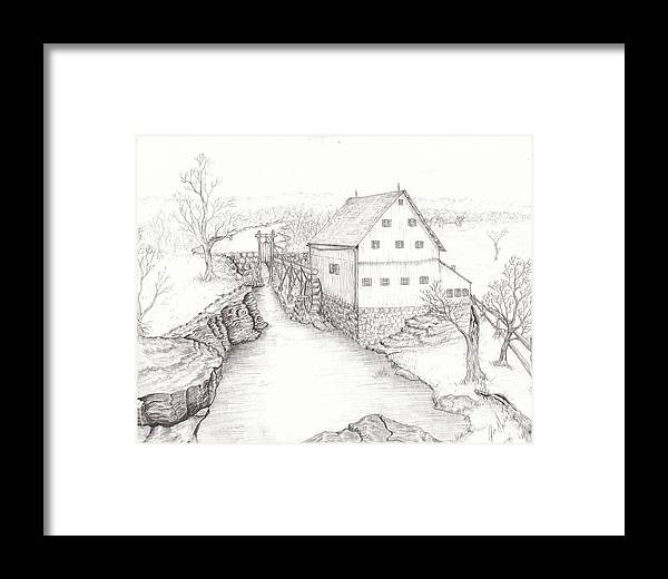 Realistic Drawing Framed Print featuring the drawing Old Grist Mill by Dan Theisen