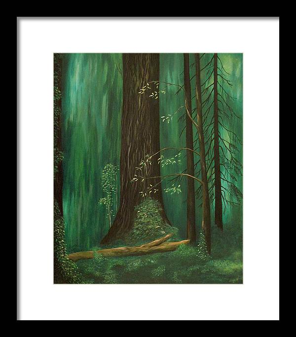 Old Growth Framed Print featuring the painting Old Growth Priest Point Park by Richard Beauregard