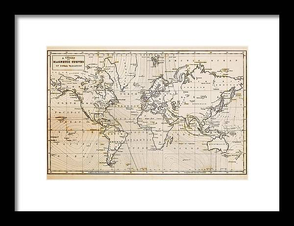 Old Hand Drawn Vintage World Map Framed Print By Richard Thomas