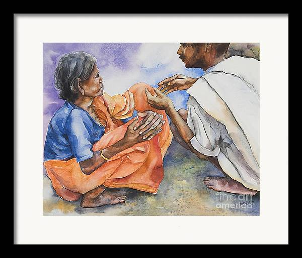 Indian Framed Print featuring the painting Old Hands by Kate Bedell
