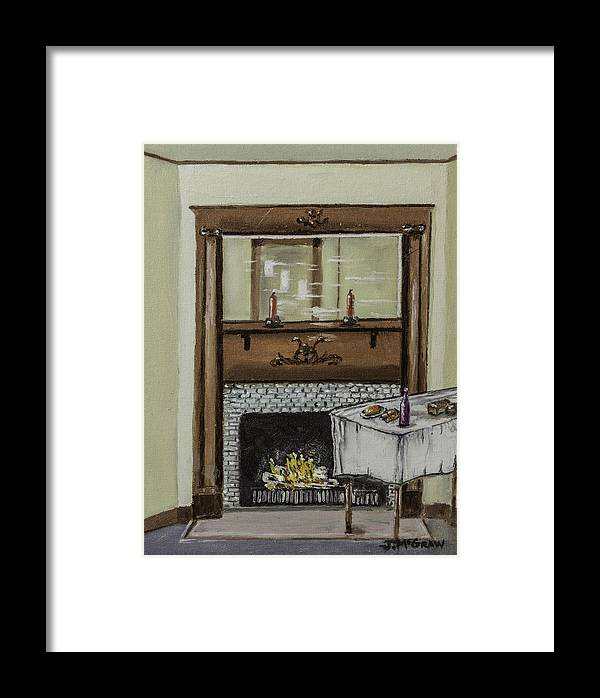 Fireplace Framed Print featuring the photograph Old Homestead Fireplace by Jim McGraw