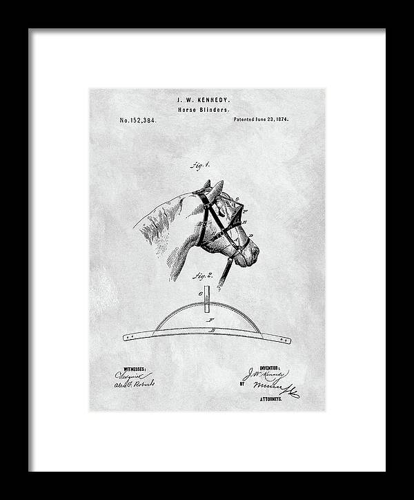 1874 Horse Blinder Patent Framed Print featuring the drawing Old Horse Blinker Patent by Dan Sproul