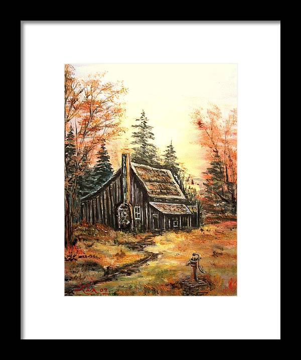 Landscape Old House Pump Framed Print featuring the painting Old house and Pump by Kenneth LePoidevin