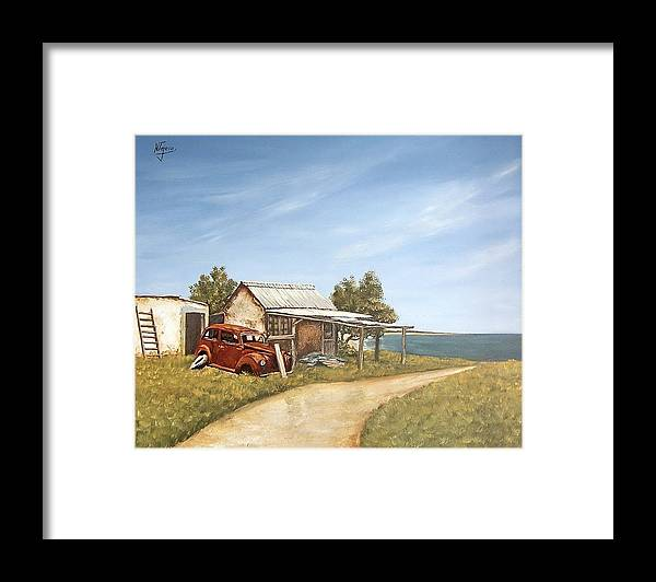 Old House Sea Seascape Landscape Framed Print featuring the painting Old House By The Sea by Natalia Tejera