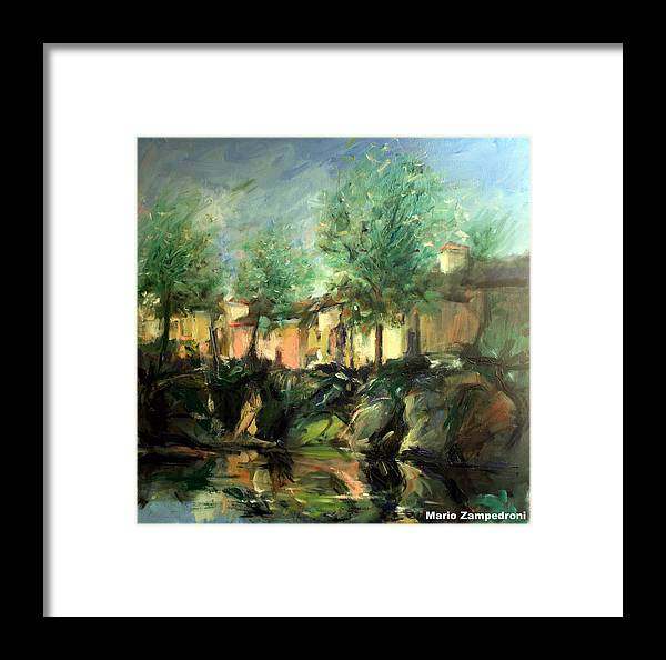 Old Houses Framed Print featuring the painting Old Houses by Mario Zampedroni