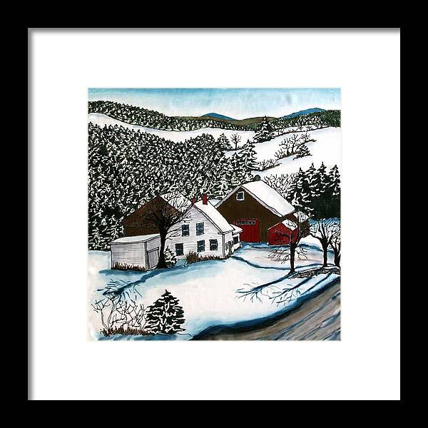 Farm Framed Print featuring the tapestry - textile Old Hutchinson Place by Linda Marcille