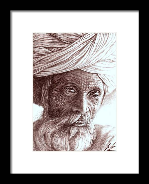 Man Framed Print featuring the drawing Old Indian Man by Nicole Zeug