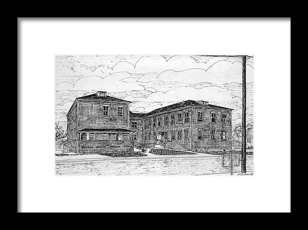 Landscape Framed Print featuring the drawing Old Lilly Lab At Mbl by Vic Delnore