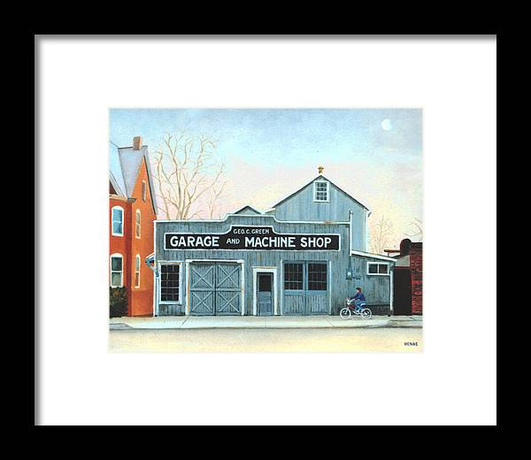 Machine Shop Framed Print featuring the painting Old Machine Shop by Robert Henne