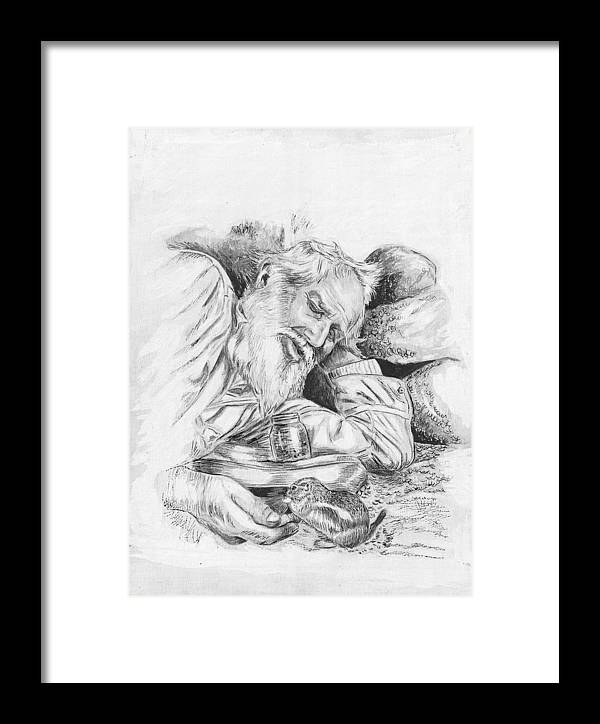 Pen And Ink Framed Print featuring the painting Old Man Feeding Chipmunk by Samuel Showman