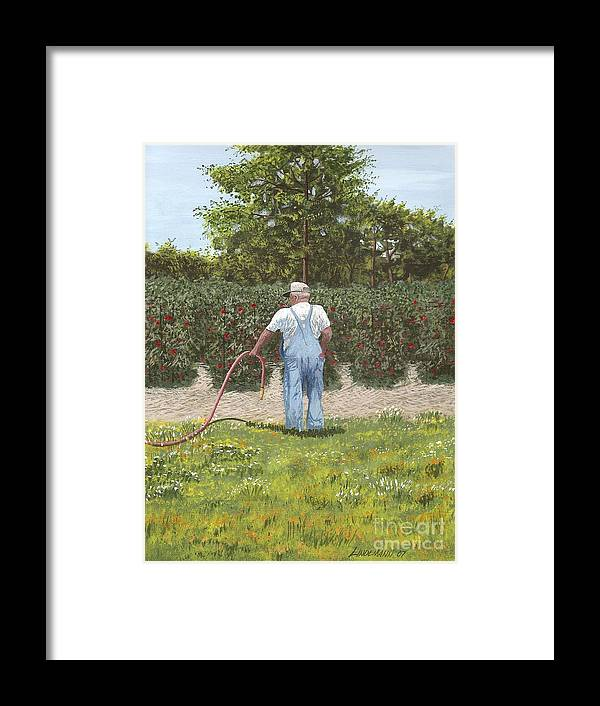 Old Man Framed Print featuring the painting Old Man In Garden by Don Lindemann