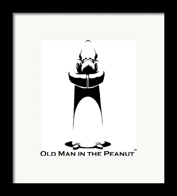 Pareidolia Old Man In The Peanut Carving Carver Challenge Tiny Art Stencil Art In A Nutshell Framed Print featuring the digital art Old Man In The Peanut by Ismael Cavazos